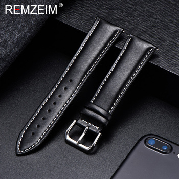 REMZEIM Calfskin Leather Watchband Soft Material Watch Band Wrist Strap 18mm 20mm 22mm 24mm With Silver Stainless Steel Buckle - discount item  80% OFF Watches Accessories