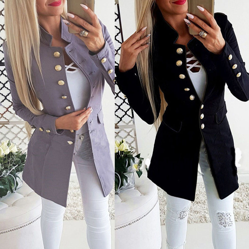 Women OL Long Sleeve Slim Fit Casual Suit Jacket Coat Outwear Female Autumn Winter Solid Color Warm Long Jacket