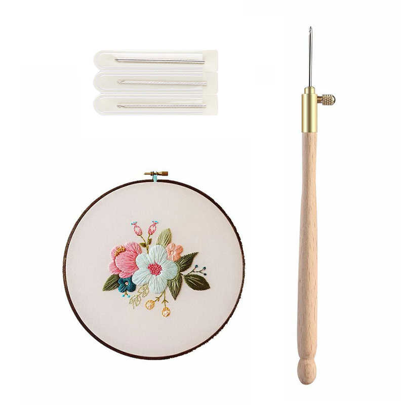 Practical Wooden Handle Tambour Crochet Hook 3 Needles  Embroidery Beading Hoop Sewing Tool Set DIY Craft Technique Household