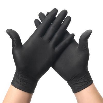 Lateefah 100pcs Disposable Anti-Corrosive Nitrile Gloves Universal Kitchen Dishwashing Work Rubber  Garden Gloves