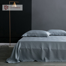 Liv-Esthete 100% Silk Gray Flat Sheet Silky Queen King Healthy Skin Bed Sheets Pillowcase For Women Men Kids Living