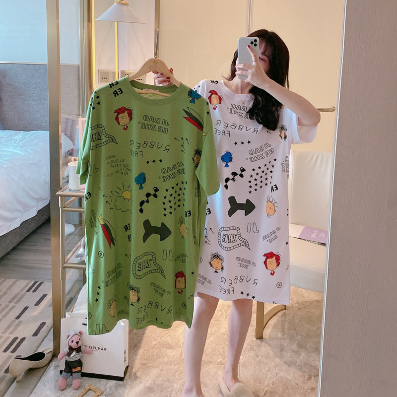 Cartoon Snoopy Summer Nightdress Female Short Sleeve Cotton Cute Girl Home Service Short Sleeve Casual Nightdress Female M-XXL