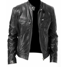 Men Vintage Cool Jacket Leather Long Sleeve Autumn Winter Stand Collar