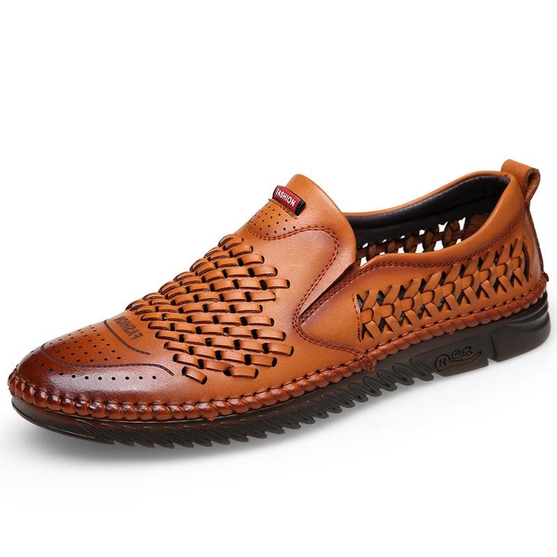 ZYYZYM Men Casual Shoes Leather 2021 New Summer Shoes Hollow Out Ventilation Soft Men