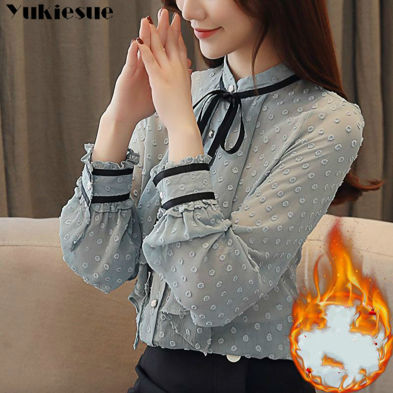 2019 Winter Warm Women Tops And Blouses Women Chiffon  Blusas Femininas Blouses Women Shirts Crochet Blouse Lace Shirt Clothe