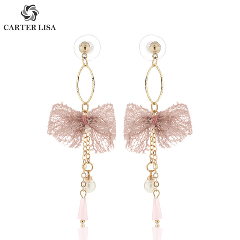 CARTER LISA Handmade Deco Cloth Bowknot Gold Drop Dangle Earings For Women Girl Fashion Jewelry Party Christmas Gifts Brincos