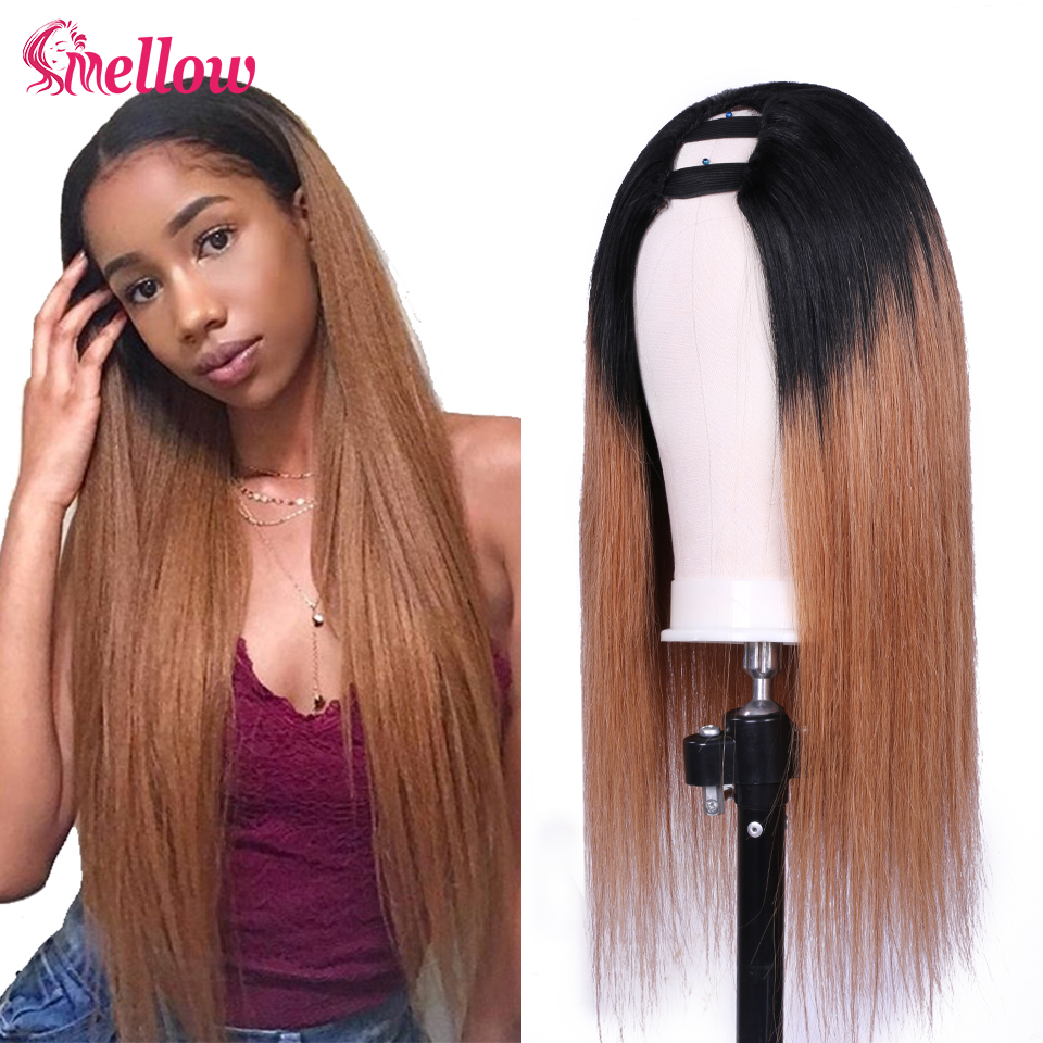1B/27 U-Part Human Hair Wigs Brazilian Straight Human Hair Wigs Ombre Color Glueless U Part Blonde Hair Wigs For Women