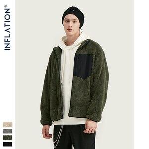 Image 3 - INFLATION Men Berber Fleece Winter Jacket Coat 2020 High Street Loose Fit Poler Fleece Men Coat High Collar Men Jacket 9744W