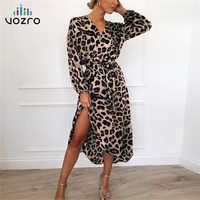 VOZRO Moarcho Leopard Sexy Maxi Party Lace Floral Dress 2019 Women Chiffon Long Beach Sa Vestidos Dresses Clothes Befree Vintage