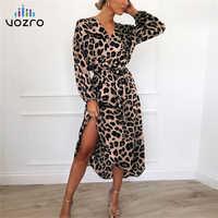 VOZRO Moarcho Leopard Sexy Maxi Party Lace Floral Dress 2019 Women Chiffon Long Beach Sa Vestidos Dresses Clothes Befree Vintage