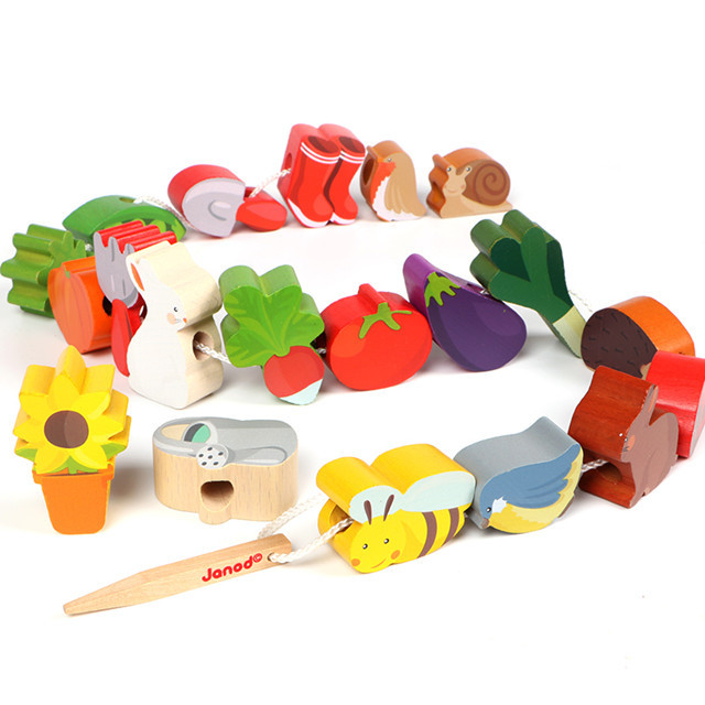 Classic Wood Large Particles Beaded Bracelet 1-3-5-Year-Old Fun Wooden Threading Building Blocks Animal Food Matching Toys