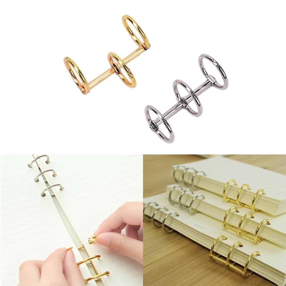 Notebook Loose Practical Leaf Binder 3-Ring Gold Silver Loose-leaf Metal Split Hinged Rings Scrapbooking Binder Album Calendar