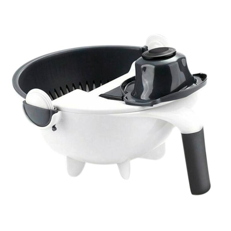 HOT!-Magic Rotate The Vegetable Cutter With Drain Basket Multi-Functional Kitchen Veggie Fruit Shredder Grater Slicer