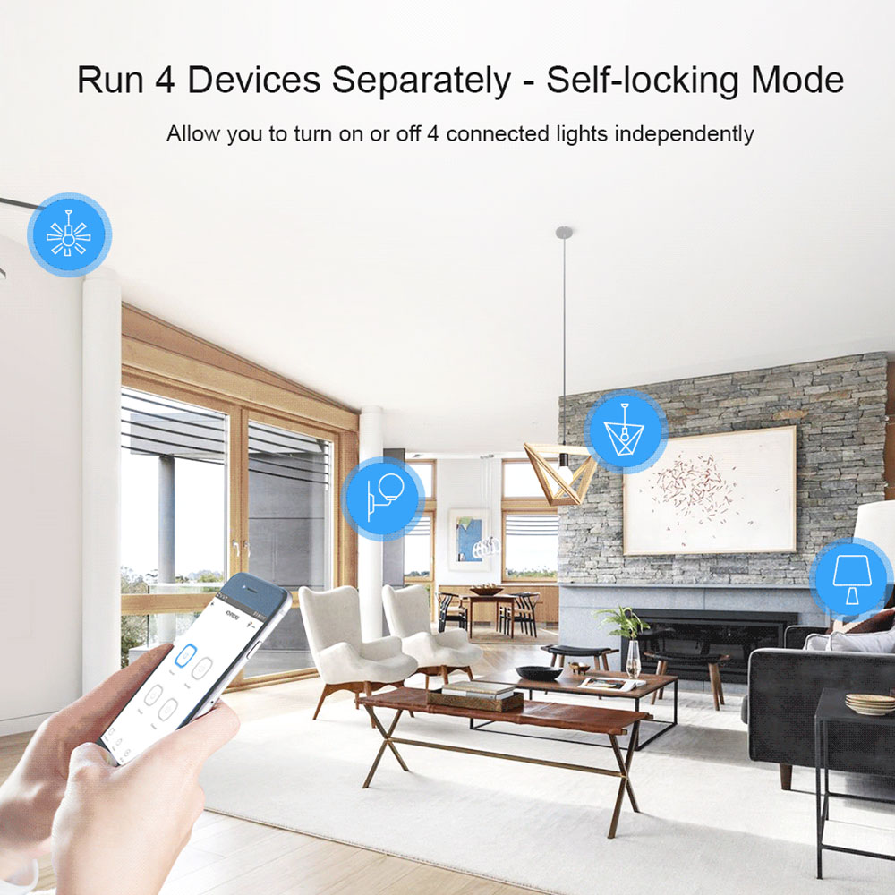 SONOFF 4CH PRO R3 Wifi Light Switch Remote 433 Mhz RF Smart Home Controller 4 Channel/ Gang Intelligent Wireless Switch Module 2