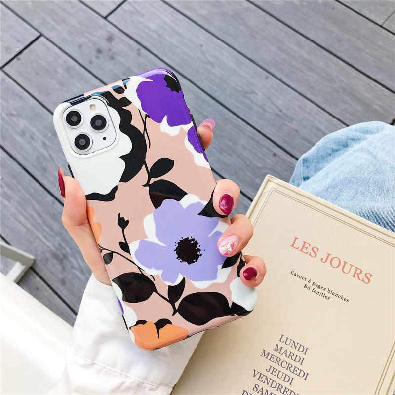 Funda de flores para iphone 11 Pro Max 6 6S 7 8 Plus XR X XS Max, funda trasera de moda amarilla púrpura de silicona para teléfono