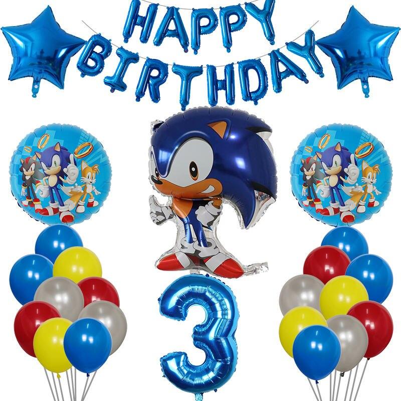 37 шт. с изображениями мультипликационных персонажей Sonic зубная щётка Фольга шары набор 10 дюймов латексные 30 дюймов номер Globos Happy День рожден...