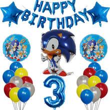 37 pçs dos desenhos animados sonic foil balões conjunto 10 polegada látex 30 polegada número globos feliz aniversário festa decorações suprimentos crianças brinquedos presente