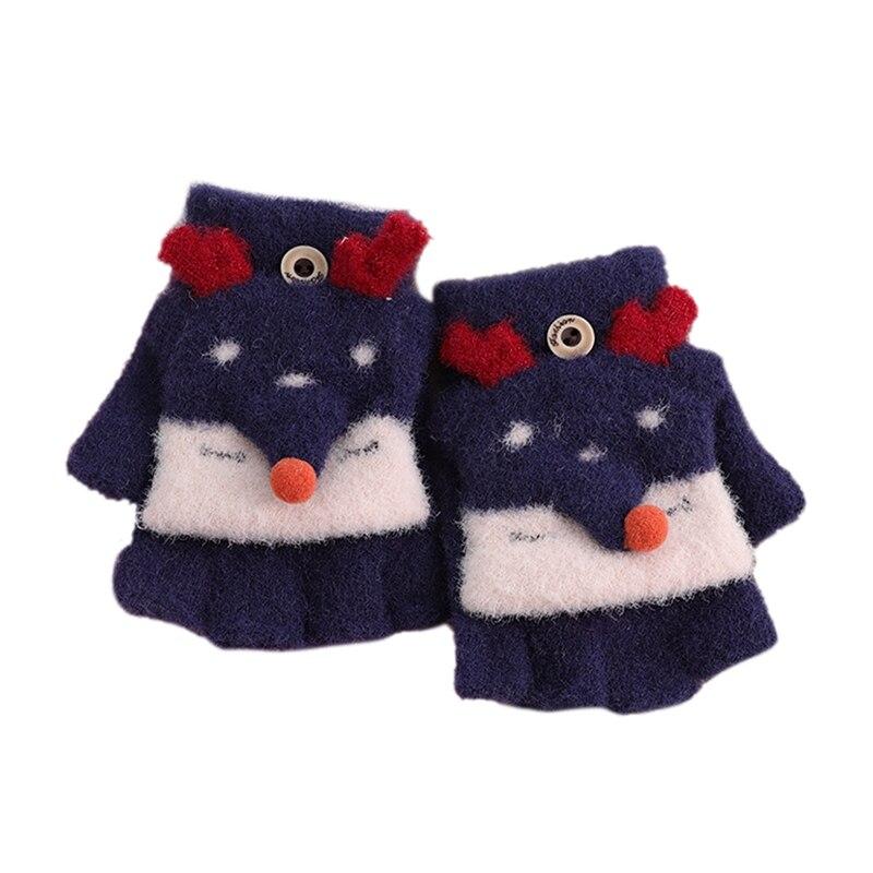 Зимние теплые детские перчатки с открытыми пальцами, детские вязаные перчатки с рисунком лося для мальчиков и девочек, перчатки с откидной крышкой, митенки Детские От 4 до 8 лет - Цвет: Navy Blue