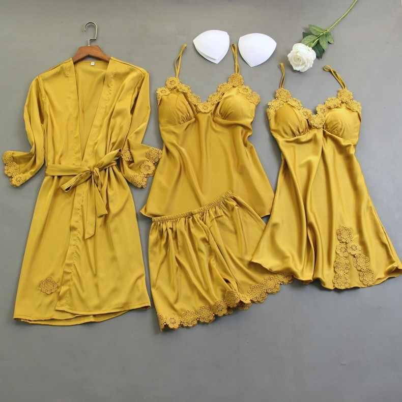 4PCS ורוד פיג 'מה סט נשים כותונות לילה V-צוואר הדפסת הלבשת כתנות שינה חלוק ללבוש בית חליפת חלוק חלוק אביב שמלה