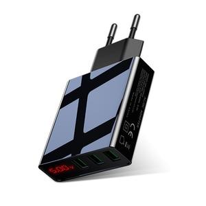 Image 1 - Màn Hình Hiển Thị LED EU 3 Cổng USB Sạc 3A Điện Thoại Di Động Sạc USB Sạc Nhanh Sạc Tường Cho iPhone 11 Samsung xiaomi Huawei
