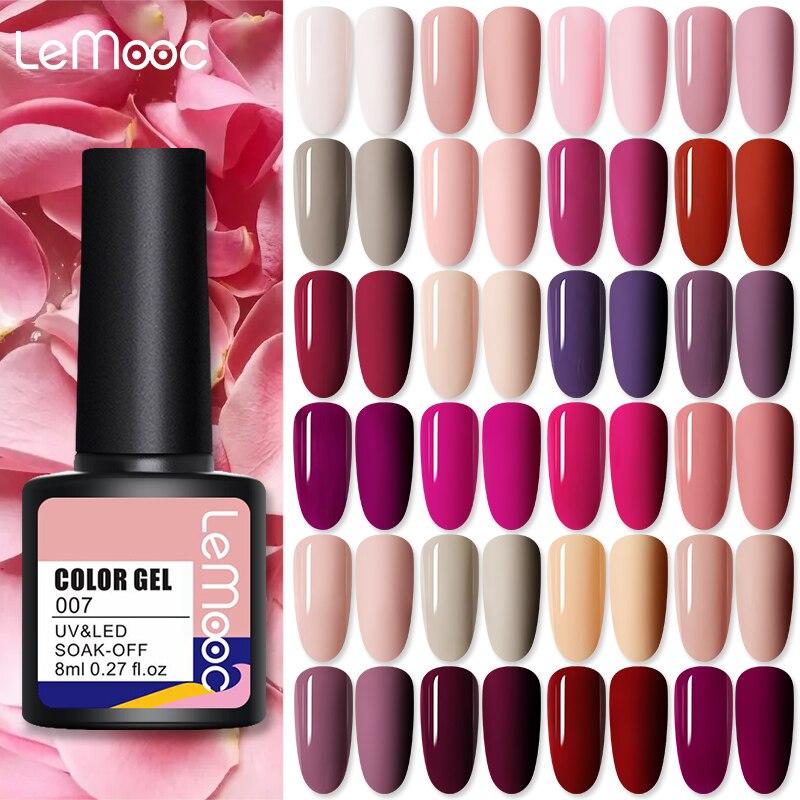 LEMOOC Гель-лак для ногтей! Полупостоянная телесный Розовый Nail Art гибридные Лаки 8 мл Гель-лак нужно вылечить базовое, топовое покрытие ногтей