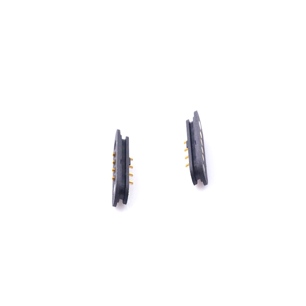 1 Pair Magnet Spring Loaded Pogo Pin Connector 4 Pin Pitch 2.5 Mm Through Holes PCB Mount Male Female 2A 36V DC Max.Power Charge