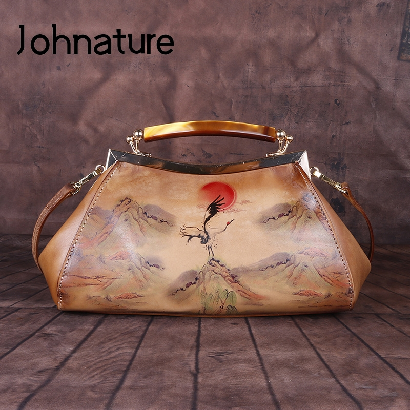 Johnature Retro Handmade Genuine Leather Women Handbag 2020 New Landscape Hasp First Layer Cowhide Ladies Shoulder Luxury Bag
