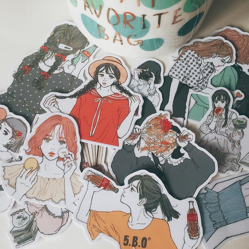 15Pcs/Set Hand Draw Girl Daily Life Sticker DIY Craft Scrapbooking Album Junk Journal Happy Planner Decorative Stickers