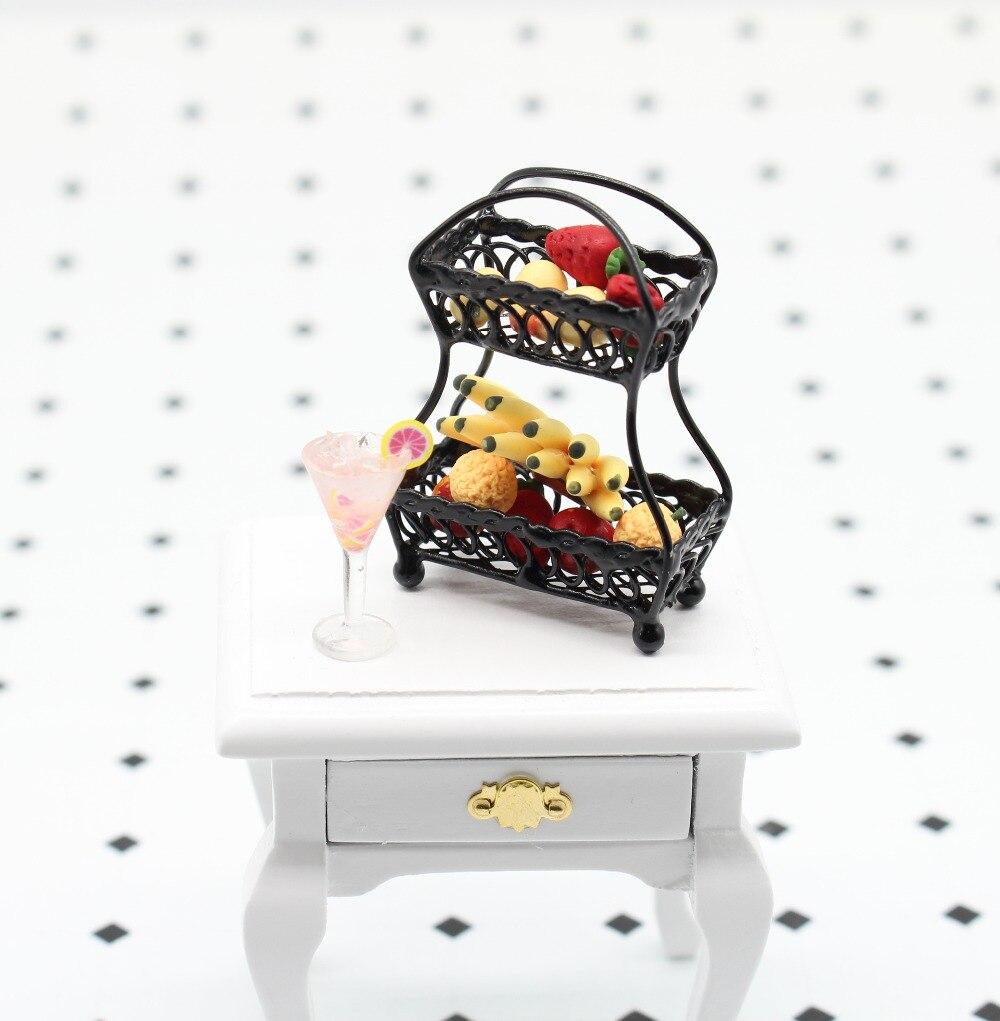 "1//12/"" Scale Black Metal Fruit Basket Dollhouse Miniature Furniture DH5"
