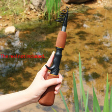 1.6M Brown Tackle Carbon Fiber Spinning Casting Fishing Pole Telescopic Fishing Winter Ice Fishing Rod Portable(China)