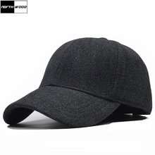 [NORTHWOOD] High Quality Wool Winter Baseball Cap With Ears Solid Men Women Snapback Hat Warm Fitted Caps Dad Hats Gorra Hombre