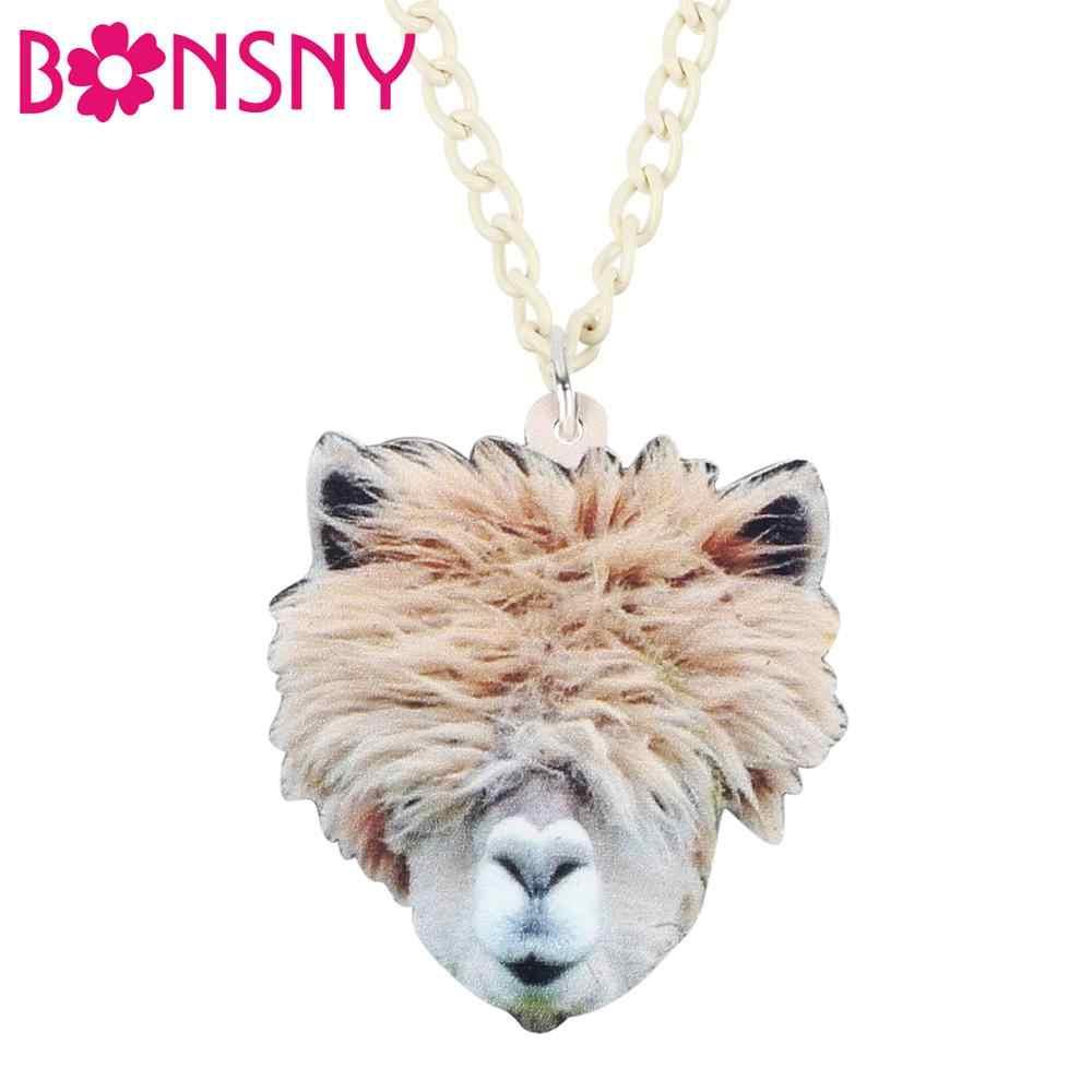 Bonsny Acrylic Fluffy Alpaca Camel Head สร้อยคอจี้ Chain Choker เครื่องประดับสำหรับสาววัยรุ่น Lady ตกแต่งของขวัญ 2019 ใหม่