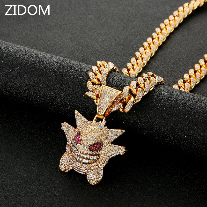 Men/Women Hip hop iced out bling Gengar pendant necklaces micro pave rhinestone Fashion Hiphop necklace charm jewelry gifts|Pendant Necklaces| - AliExpress