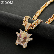 Men/Women Hip hop iced out bling Gengar pendant necklaces micro pave rhinestone Fashion Hiphop necklace charm jewelry gifts