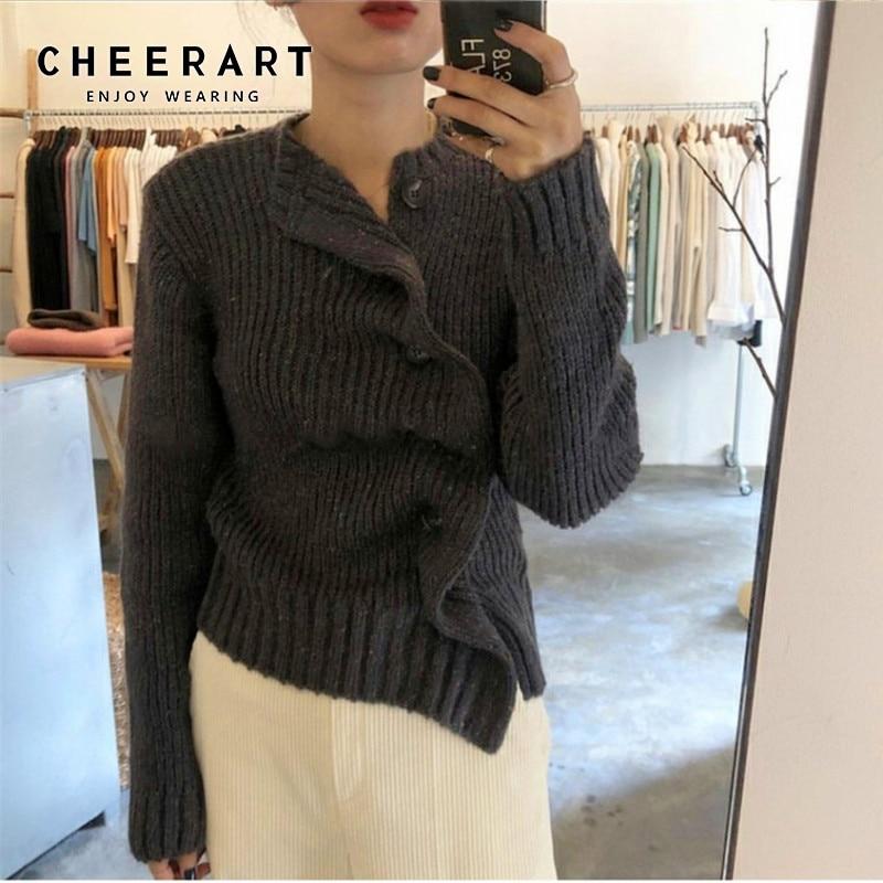 CHEERART Designer Cardigan Ruffle Knitted Cardigan Button Up Sweater Women Ribbed Sweaters Tops Fall Fashion 2019