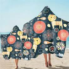 Toalla con capucha para la playa con estampado de dibujos animados para adulto, Poncho de microfibra absorbente para chico, toallas de baño para Surf al aire libre, ropa de playa