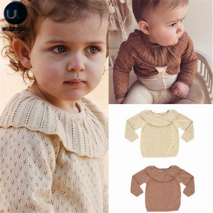 Autumn Winter Brand Kids Sweaters for Girls Cute Hollow Out Knit Pullover Baby Child Girls Knitted Tops Outfits Children Clothes