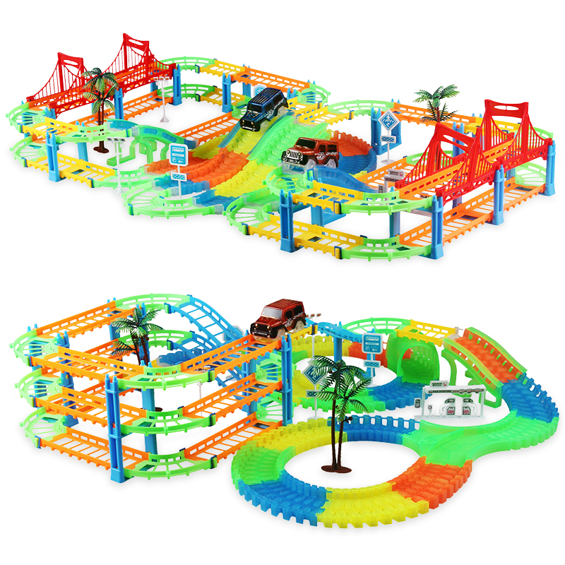 DIY Magical Railway Track Car Set Bend Flex Serpentine Technology Glow In The Dark Track LED Light Race Car Toys Gift For Kids