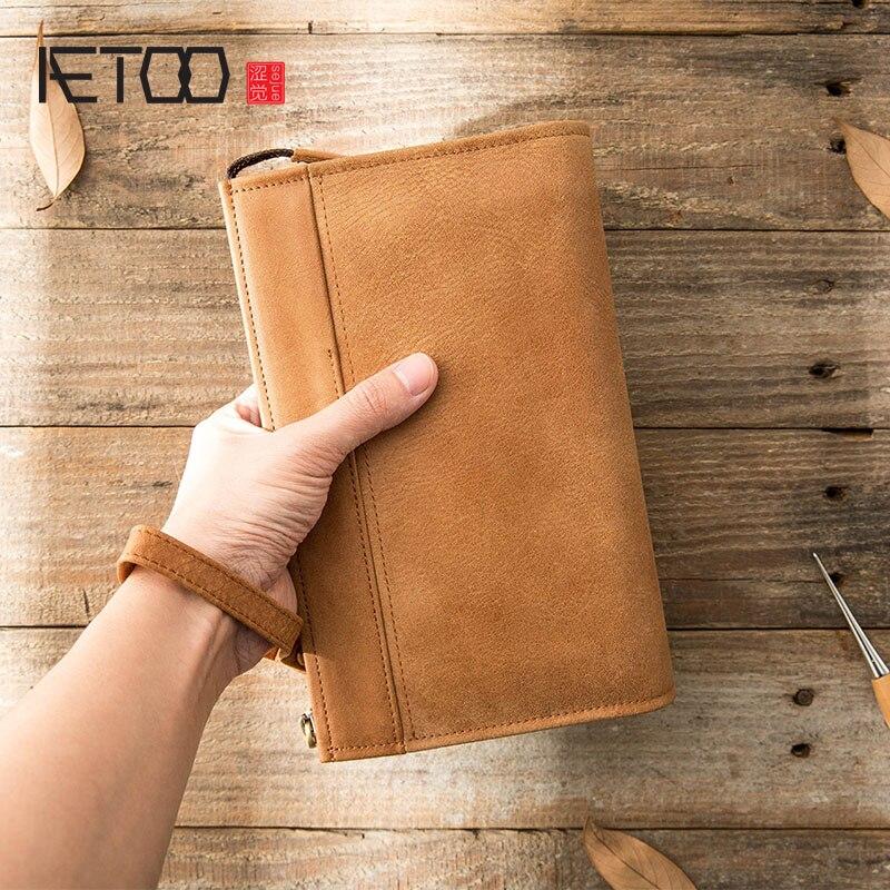 AETOO Men's Retro Handmade Leather Handbag, Casual Soft Leather Men's Handbag, Large-capacity Cowhide Zipper Hand Bag