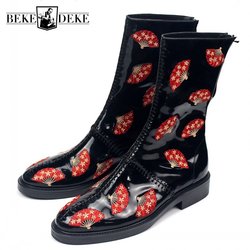 Designer Runway Mens Fan Embroidery Boots Zipper Genuine Leather Mid Calf Boots Male Handmade Bikers Riding Boots Safety Shoes