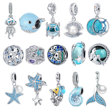 BISAER 925 Sterling Silver Ocean Style Fish dolphin Mermaid Shell Beads Blue CZ Charms For Original DIY Bracelet Jewelry EFC242
