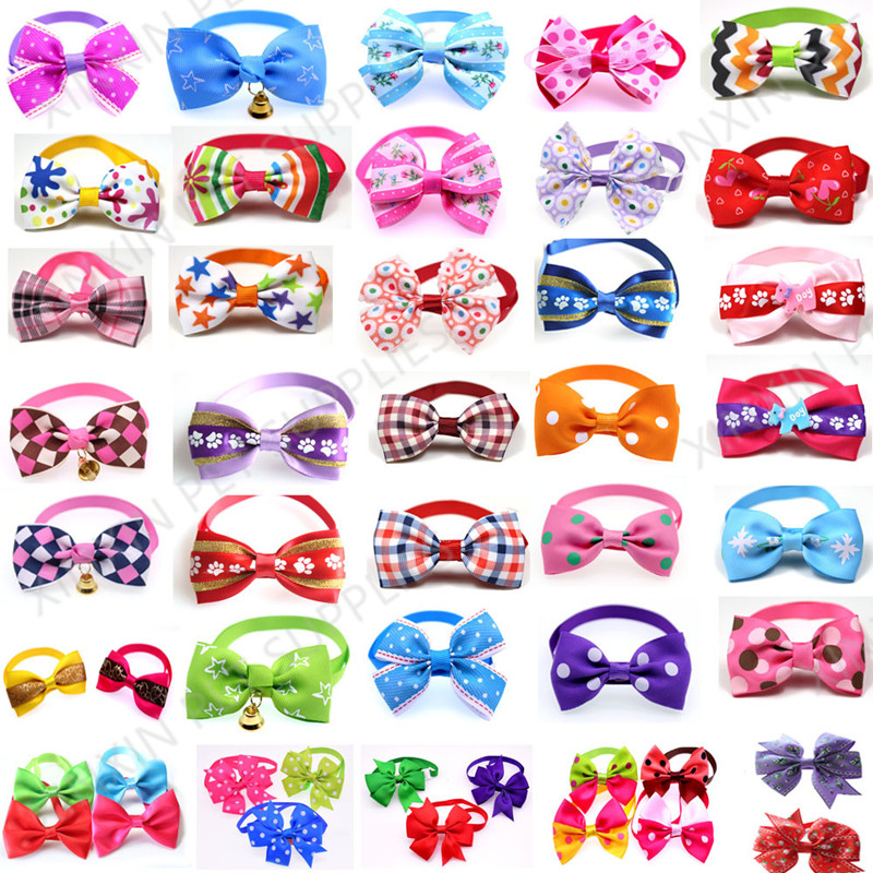 100pcs Mix Style Pet Dog Bow Ties Pet Necktie Popular Dog Bowtie Collar Pet Puppy Dog