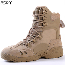 Esdy Winter Boots Men Military Boots Tactical Desert Combat Ankle Boots Army Work Shoes Men Leather Boots Winter Men Shoes military tactical boots desert combat outdoor army hiking travel botas shoes leather autumn ankle men boots winter boots