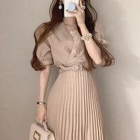 Koreanische Chic Sommer Kleid Französisch Kleid Stil Anzug Kragen Lace Up Taille Dünne Schaum Hülse Plissee Kleid mit Gürtel