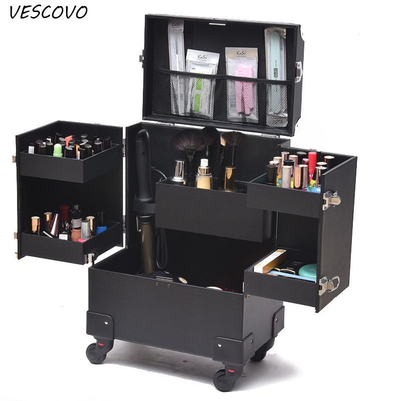 VESCOVO Cosmetic Case  Profession Suitcase For Woman MakeupTrolley Box Nails Beauty Luggage Travel Cosmetic Bag With Wheels