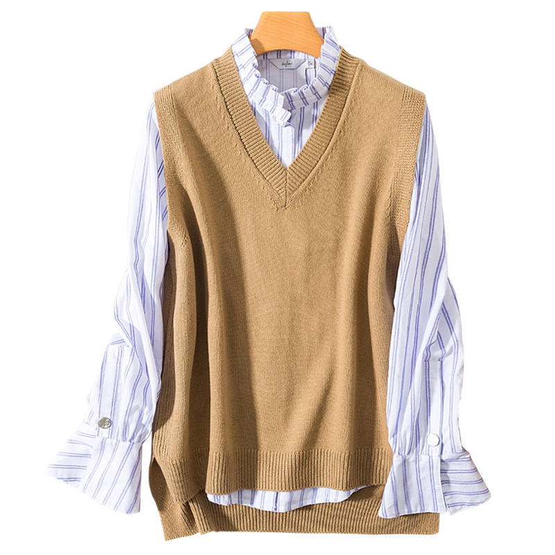 Women Vest Sleeveless 100% Cashmere And Wool Knitting Sweaters Female V-neck Loose Winter & Autumn Woolen Blended Pullovers Tops