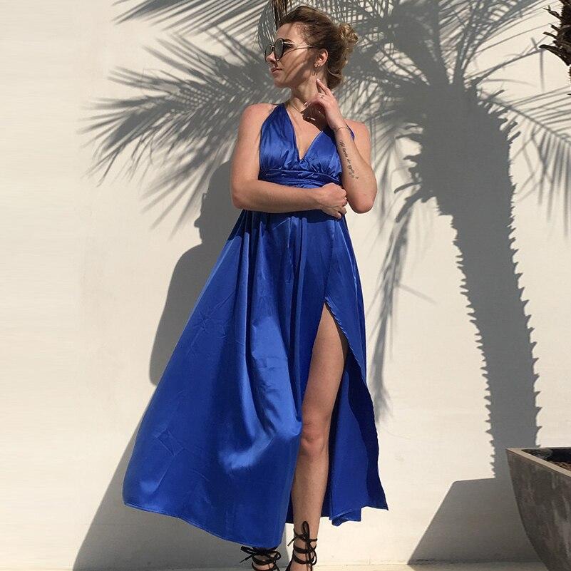 High Loose v neck Maxi Waist Spaghetti Solid Summer 2020 Dress Women Beach Dress Sexy Size Sundresses Strap Plus Long dresses