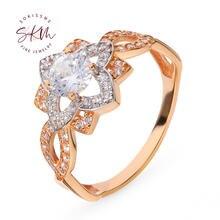 Skm дизайнерские 14k кольца из розового золота для женщин с