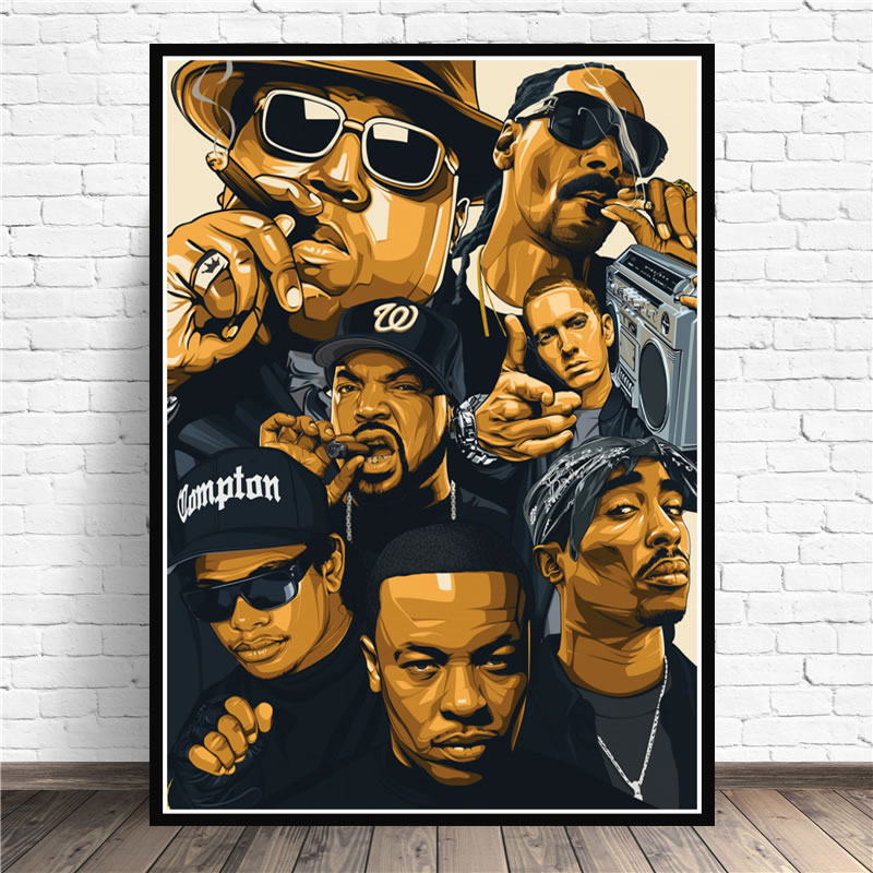 Poster Prints Biggie Notorious 2Pac Jay-Z N.W.A Legend Star Collage Canvas Oil Painting Art Wall Pictures Living Room Home Decor