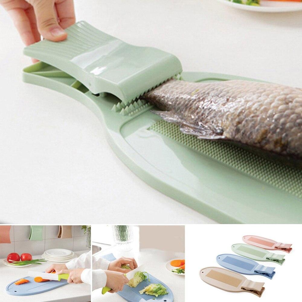 Ev ve Bahçe'ten Doğrama Blokları'de Anti Skid balık sabitleme kesme tahtası mutfak aletleri kaymaz plastik doğrama tahtası klip ile kalınlaşmak sabitleme plakası öldürmek için balık